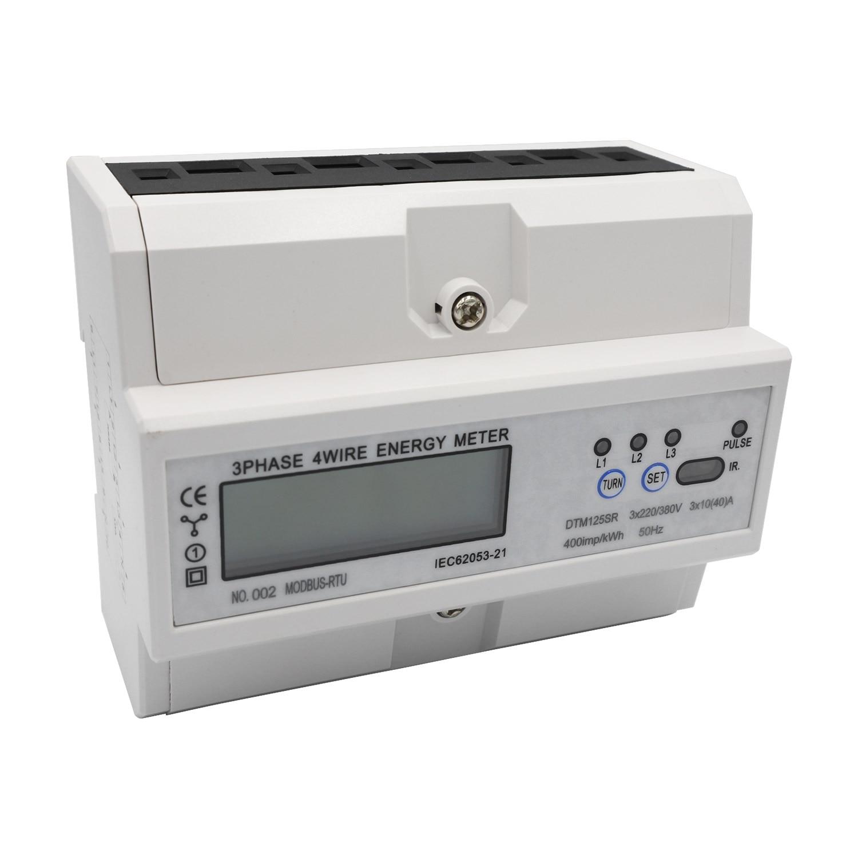 3 phases 4 fils LCD affichage numérique wattmètre consommation d'énergie compteur électrique kWh AC220/380 V 10 (40) un Rail électrique Din
