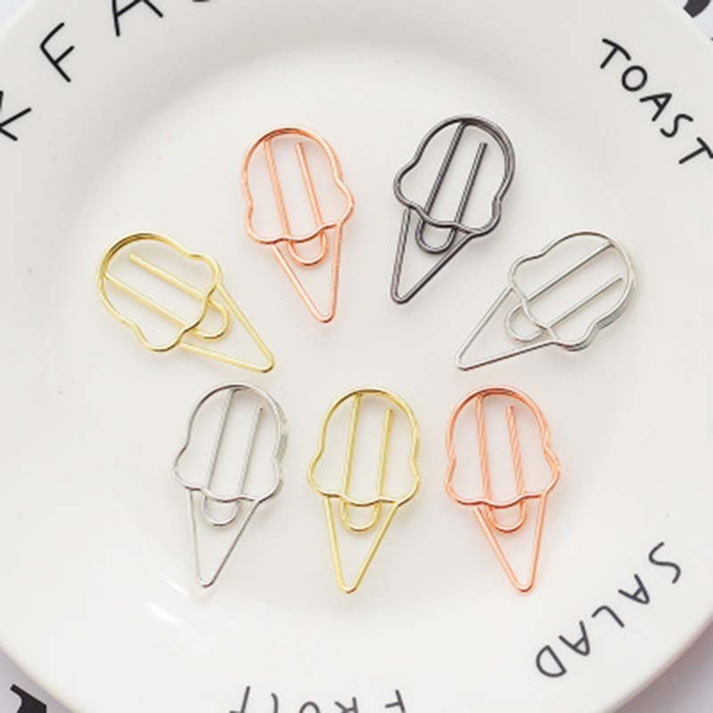 2PCs/Lot Cute Ice Cream Shape Metal Paper Clips Bookmark Clip Stationery