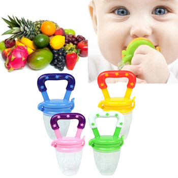 Baby Pacifier Clips Food Grade Silicone Infant Toddlers Teether Vegetable Fruit Teething Toy Ring Chewable Soother Eat Food