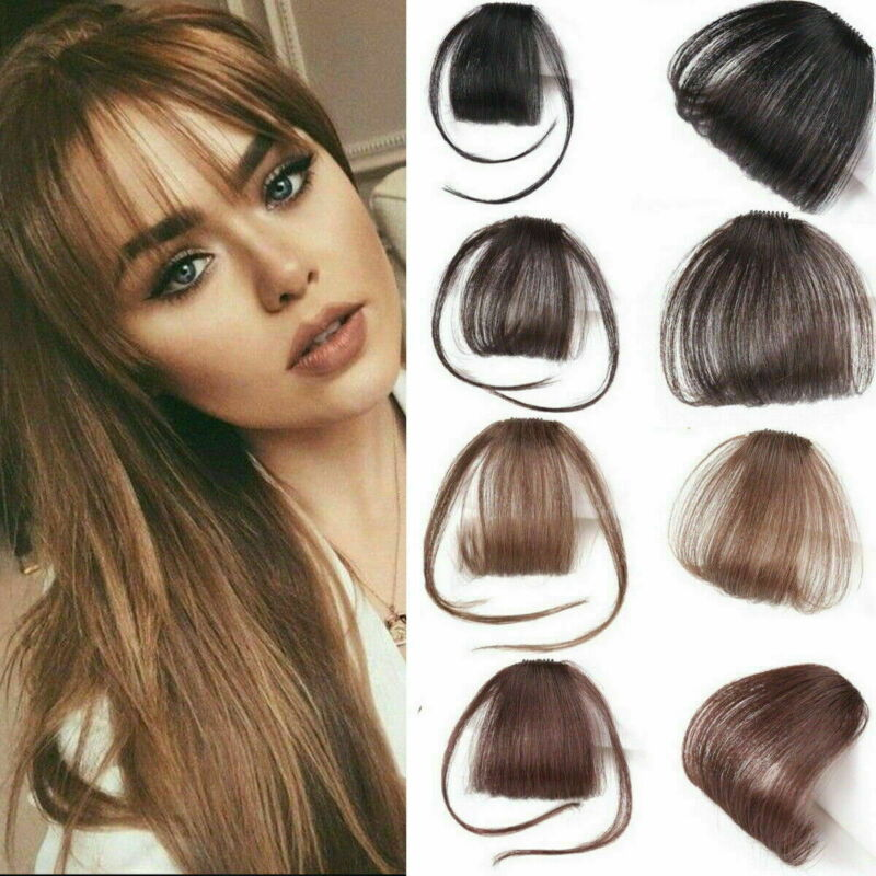 2019 New Thin Air Neat Wispy Bangs Real Remy Human Hair Clip In Fringe Front Hairpiece Air Bangs Remy Human Hair Extensions Clip