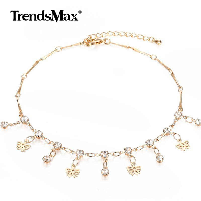 585 Rose Gold Women Anklet Bracelet Bowtie Heart Star CZ Charms Rolo Chain Female Foot Jewelry Fashion Adjustable Length DCAM01