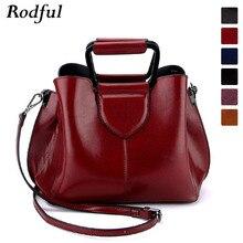 Rodful luxury woman hand bag vintage oil leather handbag women wine black cross messenger bag womens shoulder bag fashion trend