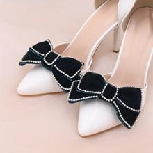 TOPQUEEN AX12 Bowknot shoe clip high heel Crystal decorative bow shoe clip Wedding shoe shoe clip