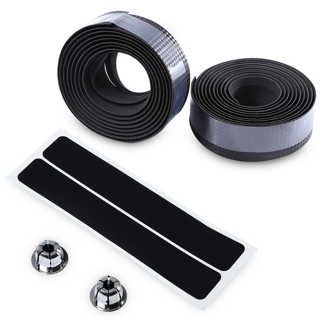 Carbon fiber Road Bike Bicycle Handlebar Tape Camouflagebelt Cycling Handle Belt Cork Wrap with Bar Plugs non slip absorb sweat 5