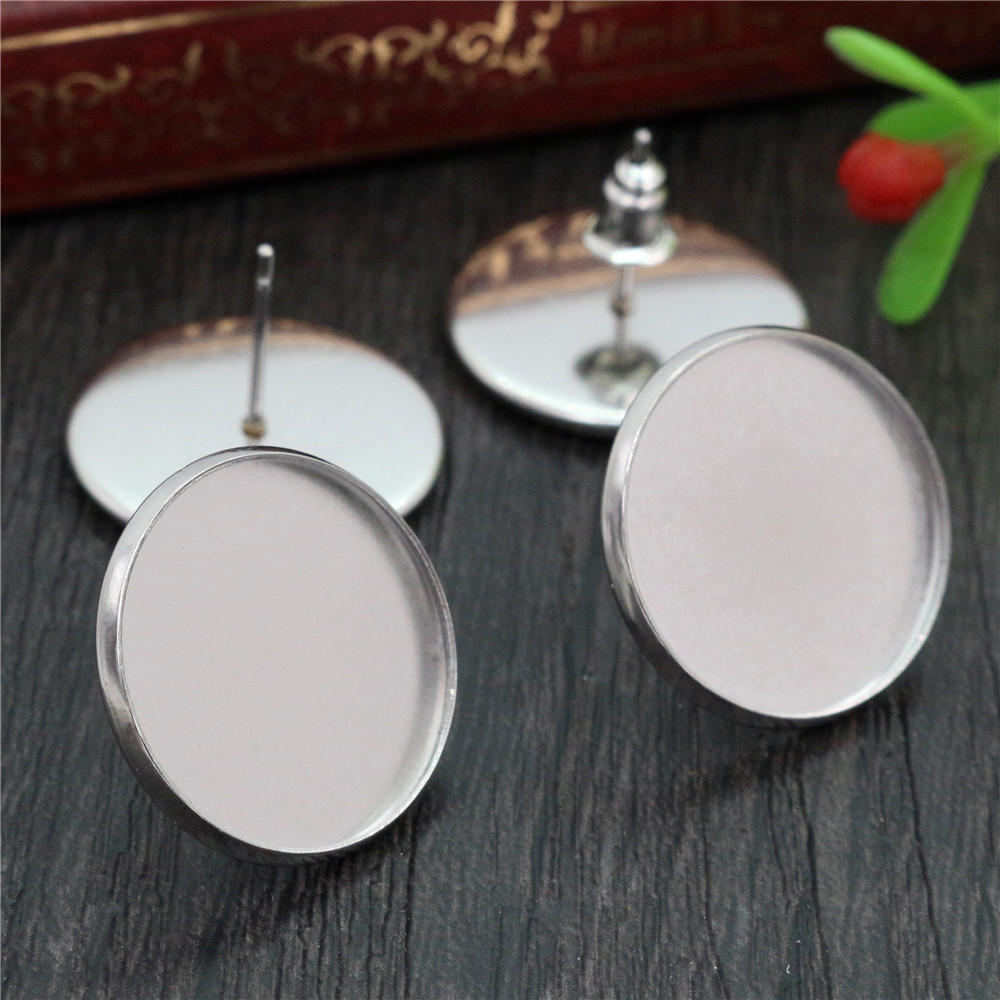 ( No Fade ) 18mm 20pcs/lots Stainless Steel Earring Studs,Earrings Blank/Base,Fit 18mm Glass Cabochons,Buttons-M3-20