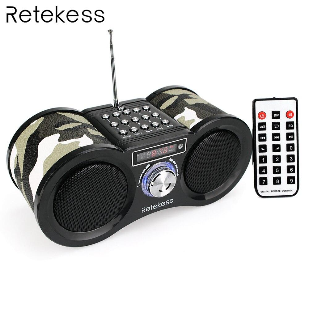 Retekess v113 fm rádio estéreo receptor de rádio digital alto-falante disco usb tf cartão mp3 player música camuflagem + controle remoto