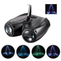 Luz Disco 128 LEDs dirigible de doble cabeza proyector de flores y Luna luz activada por voz efecto escenario para fiesta en casa Decoración habitación
