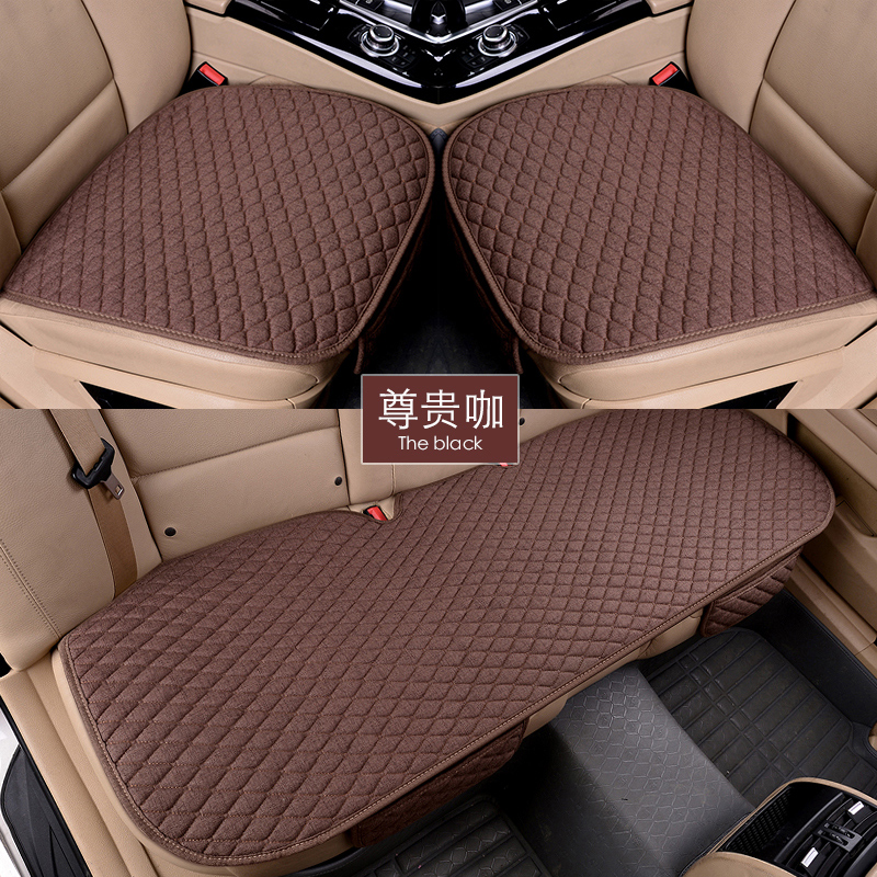 Flax Car Seat Covers Front Rear/ Full Set Linen Fabric Seat Pad Cover 11