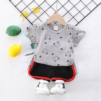 Baby Boys Cartoon Casual Tshirt Sets Summer O neck Short Sleeve T Shirt Clothes Set Cotton Toddler Baby Clothing Set 2Pcs