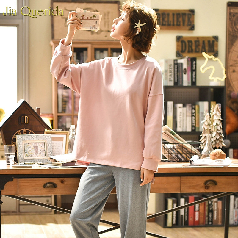 Image 3 - Minimalist Style Women's Sleepwear Loose Size Pink Top Grey Pants Women's Two Pieces Cotton Pjs Student Girls Home Clothing Suit-in Pajama Sets from Underwear & Sleepwears on AliExpress