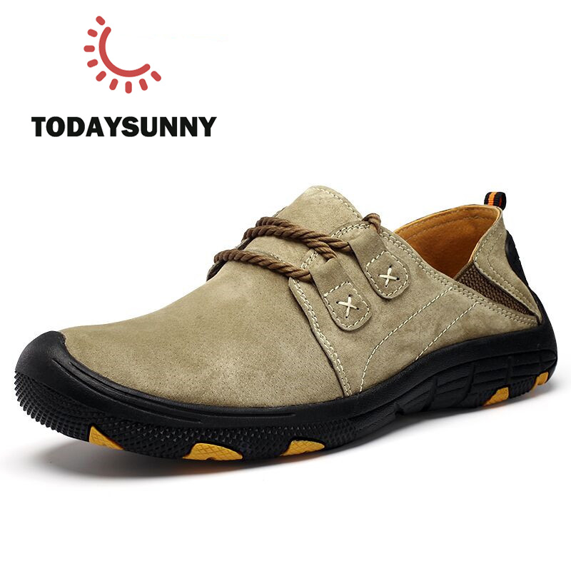 Fashion Men Pigskin Leather Casual Shoes Men Loafers Suede Men Shoes Breathable Outdoor Training Shoes Walking Zapatos Sneakers