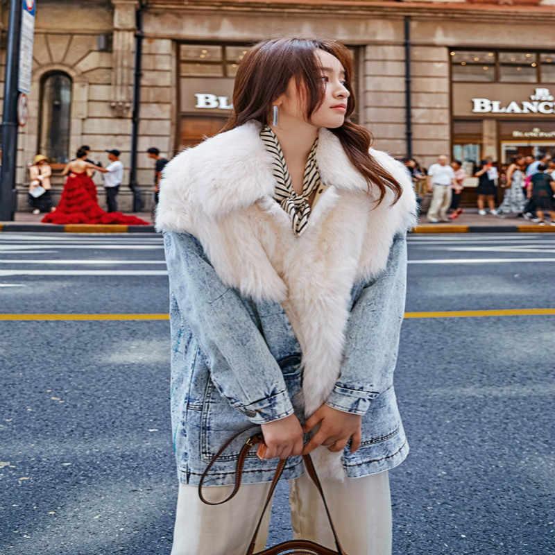 Natürliche Pelz Mantel Weibliche Winter Denim Jacke Kleidung 2020 Koreanische Doppel Konfrontiert Wolle Tops Vintage Echt Pelz Mäntel und Jacken 072SH