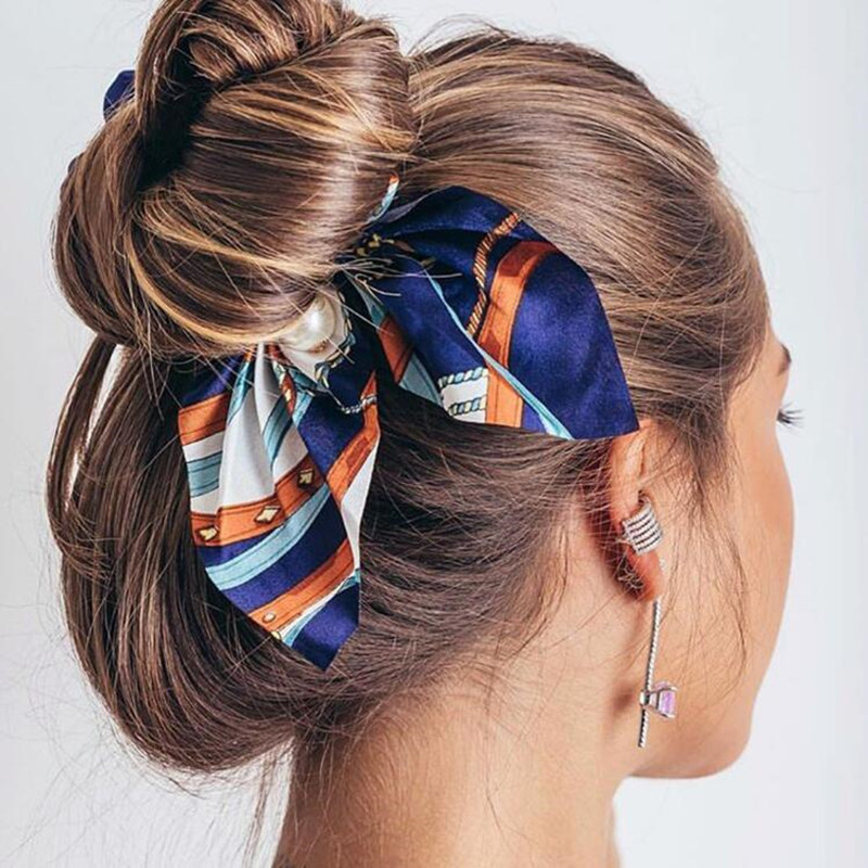 2019New Chiffon Bow knot Elastic Hair Bands For Women Girls Pearl Scrunchies Headband Hair Ties Ponytail Holder Hair Accessories