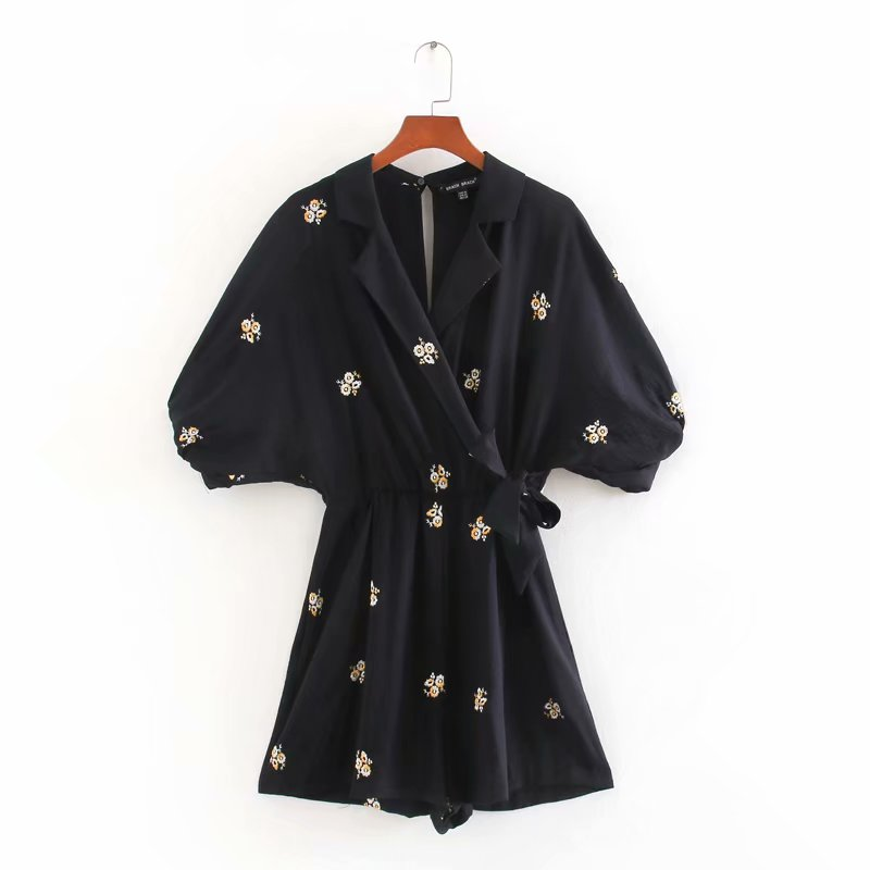 New Women Fashion Batwing Sleeve Flower Embroidery Siamese Lady Back Zipper Kimono Jumpsuits Chic Bow Tie Overalls Rompers