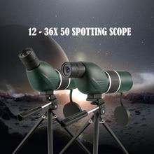 12-36x50 Spotting ScopeTelescope Portable Travel Scope Monocular Telescope with Tripod Carry Case Birdwatch Hunting Monocular стоимость