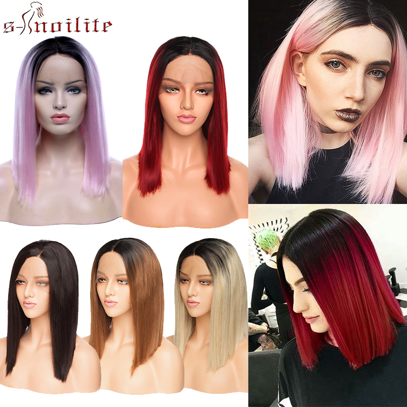 S-noilite Ombre BOB Lace Front Wigs Straight Bob Wigs Red Pink Blonde Brown Hair Wigs Synthetic Wigs For Black Women Lace Wig