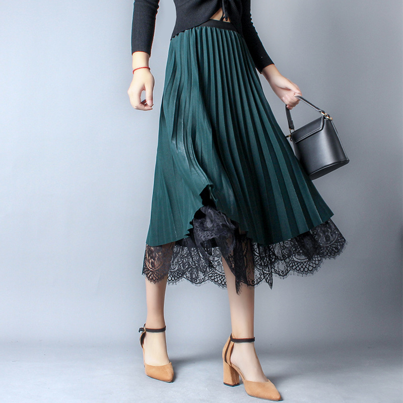 New England High Waist Mesh Skirt Autumn Women Skirt Work Lace Patchwork Pleated Skirt Elegant Big Tulle Skirts Wear Both Sides