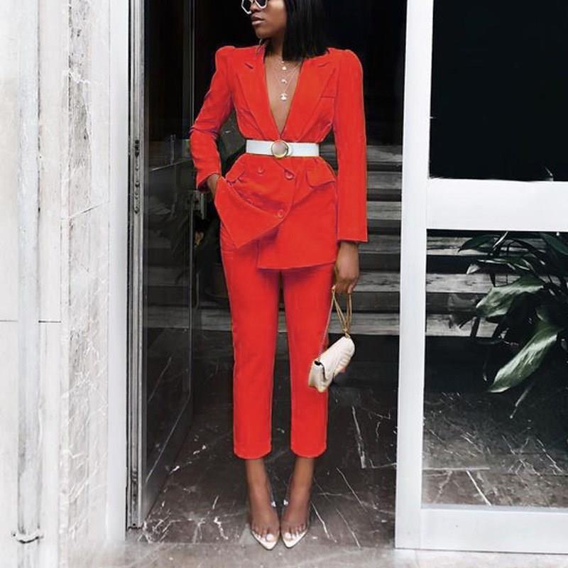 2019 Autumn Sexy Office Lady Blazer Suit Women Tracksuits Notched Double Long Sleeve Blazer Straight Pants Set