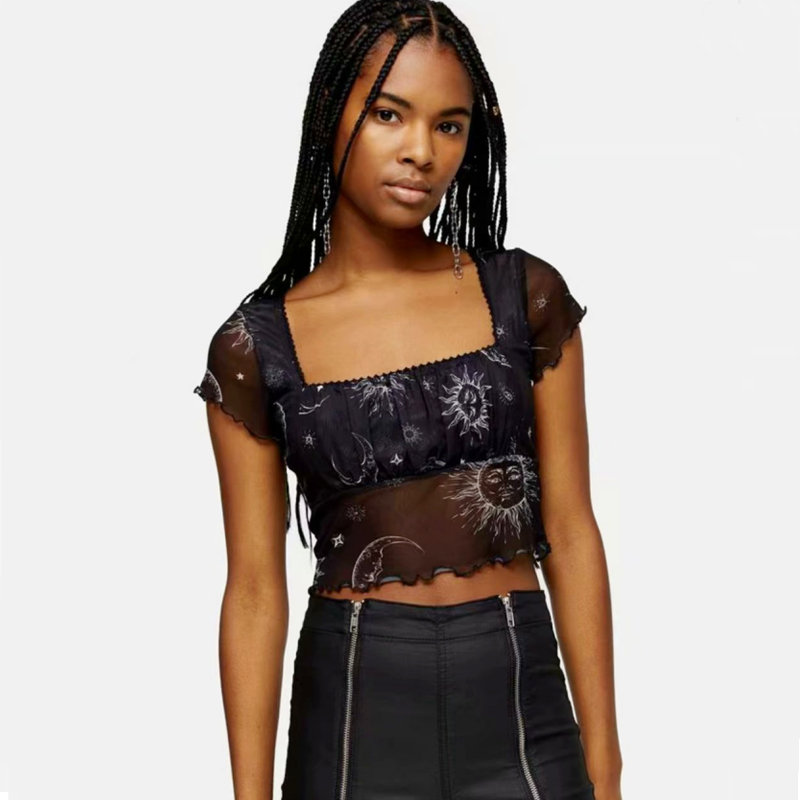 Women Square Neck Crop Mesh Top With Sun And Stars Print