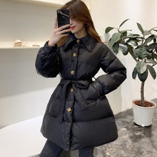 EORUTCI Winter Tunic Down Coat Women Long Jacket With Belt Oversize Vintage Black Autumn Casual Basic Coat LM831(China)
