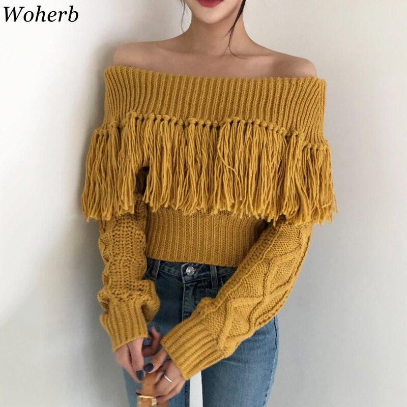 Woherb Sexy Off Shoulder Tassel Sweater Women Loose Long Sleeve Twist Knitted Pullovers 2020 Vintage Korean Crop Sweaters Jumper