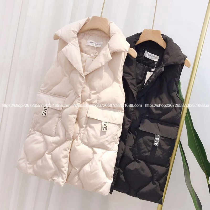 Down cotton vest girls big children in the long coat 2019 winter loose lapel vest thick vest coat