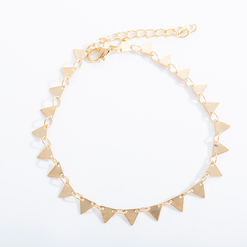 Bohemian Gold Color Triangle Leg Bracelet for Women Beach Triangle Anklet Summer Sandals Barefoot Punk Metal Foot Decoration 5