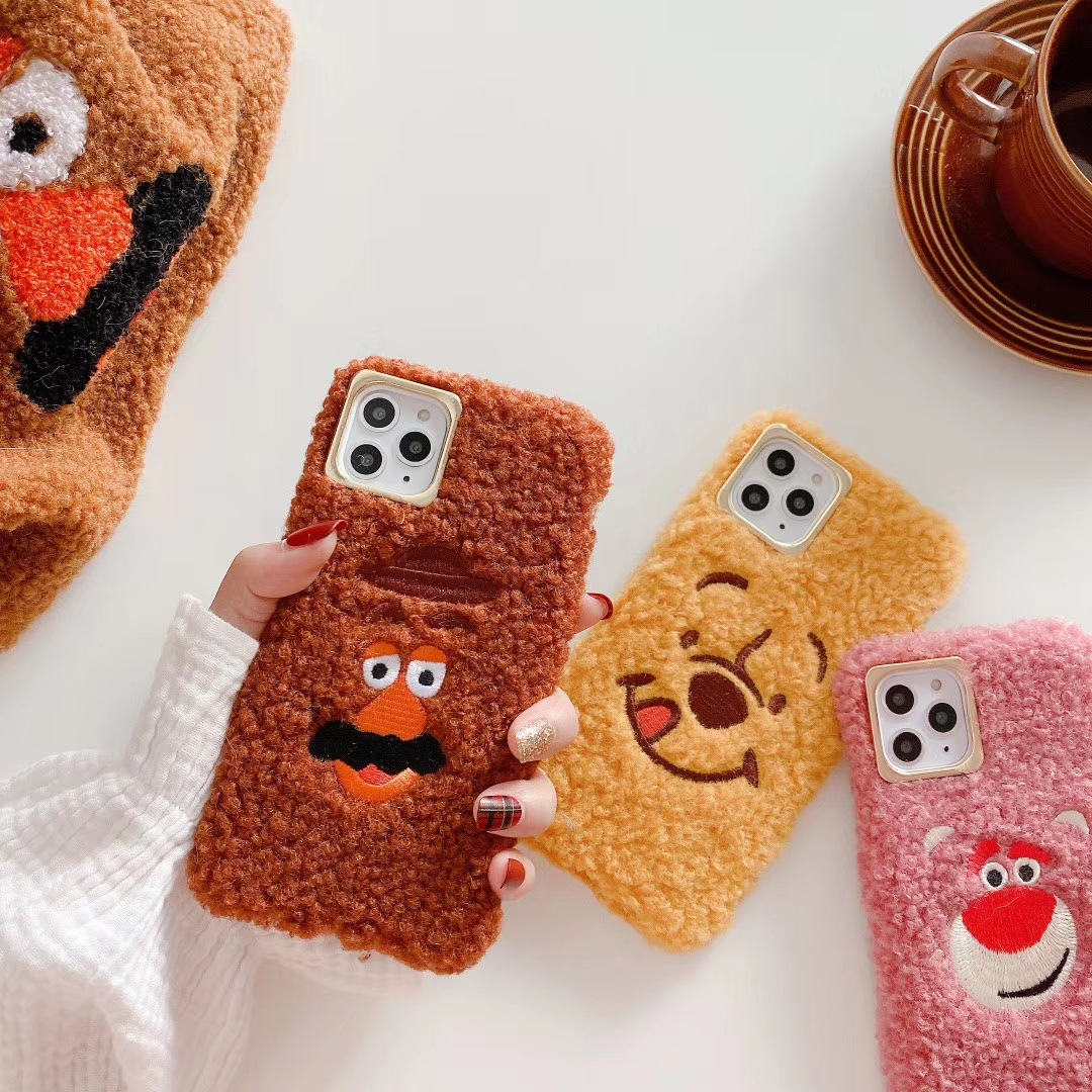 Cartoon plush for iphone 11Pro cute embroidery bear Fork potato beard warm soft cover for iphone