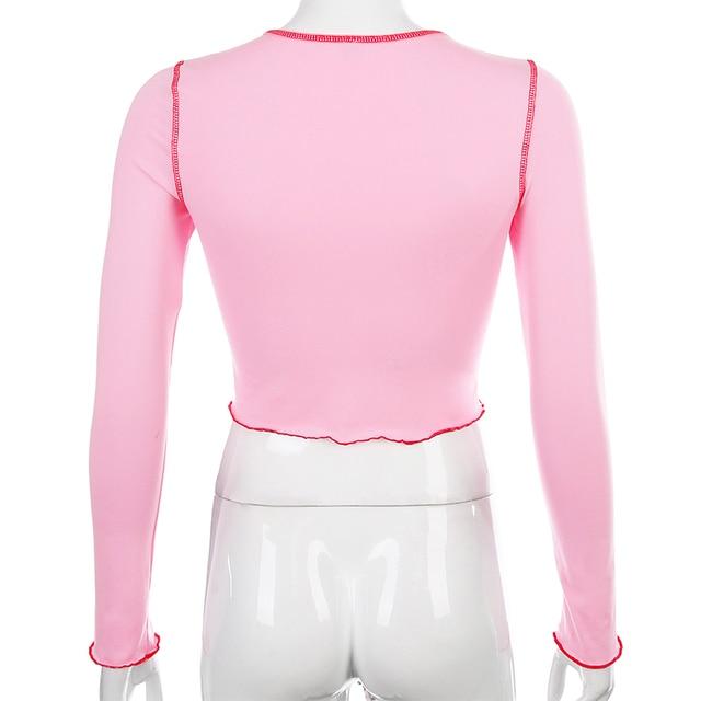 SEASONS Strawberry Print Long Sleeve t shirt Women Pink Knitted O-neck Tee Shirt Femme Crop Top ASTS80231