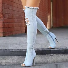 2019 New Women Long Boots Denim Over Knee High Fashion Peep Toe Heels Shoes Woman Autumn Spring Zipper AEZLZ176