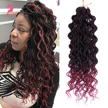 Crochet Hair Senegalese Braids Twist 18 Ombre Synthetic Wavy Curly Braiding Extensions 15strands/pack