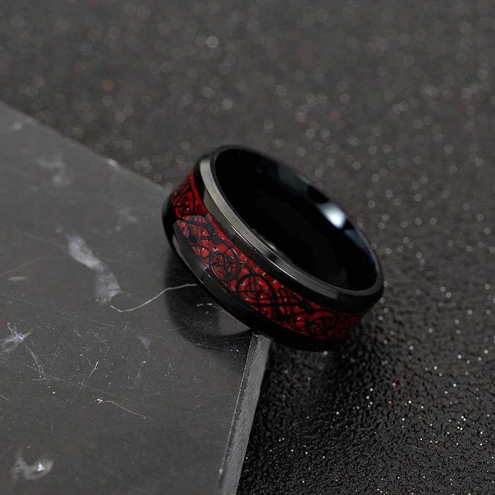 1 قطعة الاستبداد رجل حلقة الأحمر الأخضر ألياف الكربون الأسود التنين البطانة الراحة صالح الفولاذ المقاوم للصدأ خواتم للرجال الزفاف الفرقة خاتم