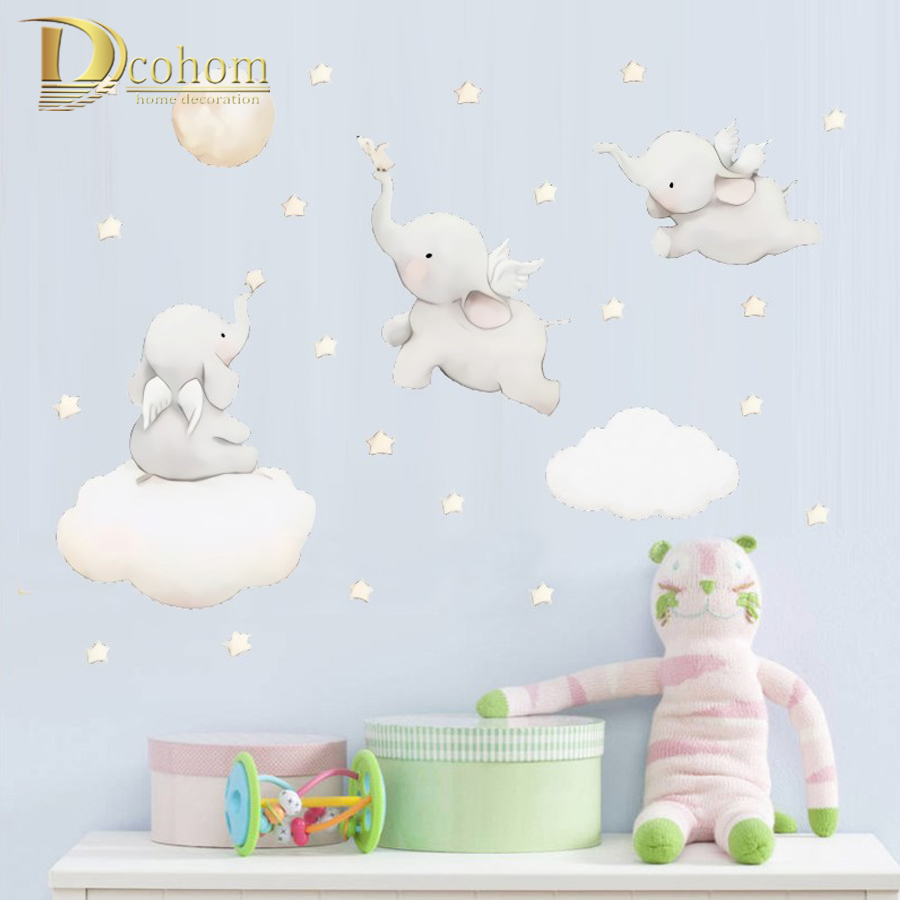 Cartoon Stars Cloud Wall Stickers Elephant Animal Sticker Baby Kids Room Decoration Nordic Style Nursery Vinyl Wall Decals