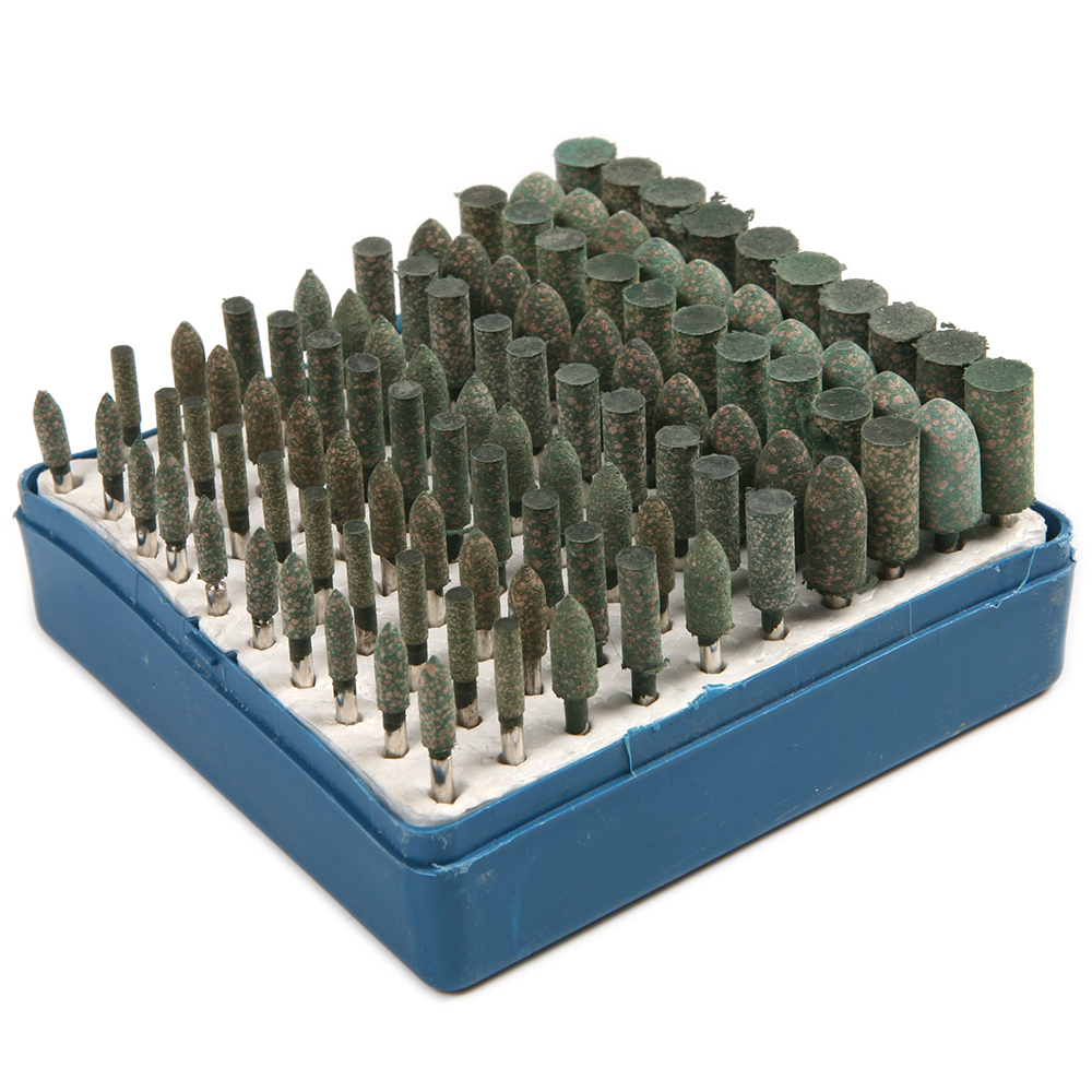 100pcs Rotary Assorted Abrasive Rubber Grinding Burrs Tool For Dremel Shank 3mm