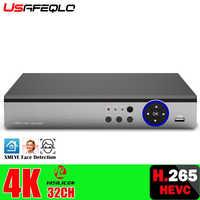 USAFEQLO-carcasa metálica de 32 canales, detección facial, H.265 +, NVR, HDMI, VGA, 4K, 5M, NVR, CCTV, NVR para cámara IP, sistema de seguridad ONVIF, 3G, 4G, WIFI