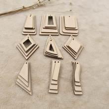 Brincos de madeira geométrica inacabado em branco pingentes de madeira compensada balançar brinco encantos de madeira para diy artesanato jóias fazendo