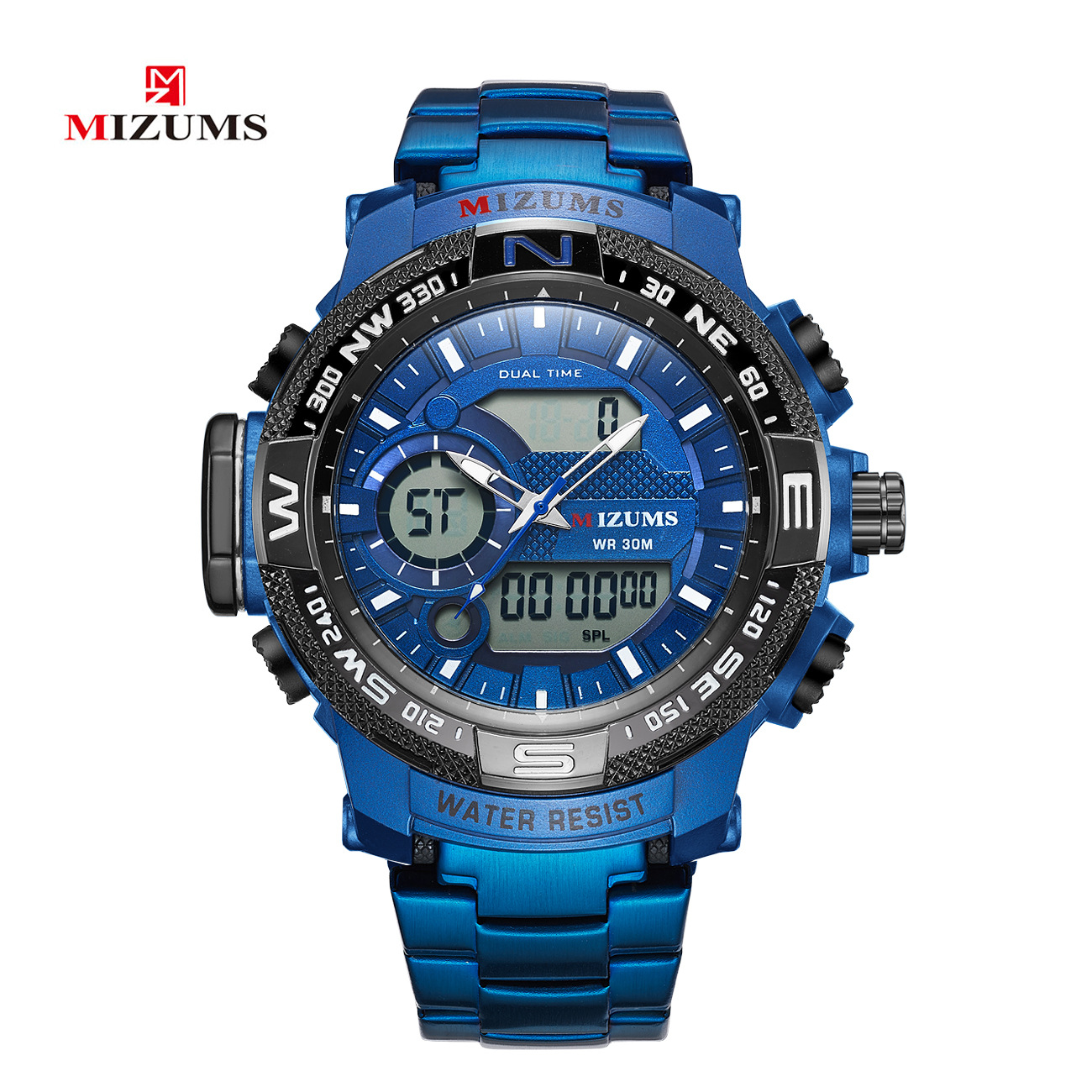 New trend-to-fashion electronic watch dual movement electronic watch steel belt men's watch waterproof quartz sports watch