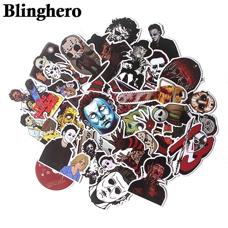 36pcs/set Michael Myers Killers Horror Sticker Waterproof Skateboard Luggage Laptop Sticker PVC Scrapbooking Halloween Stickers