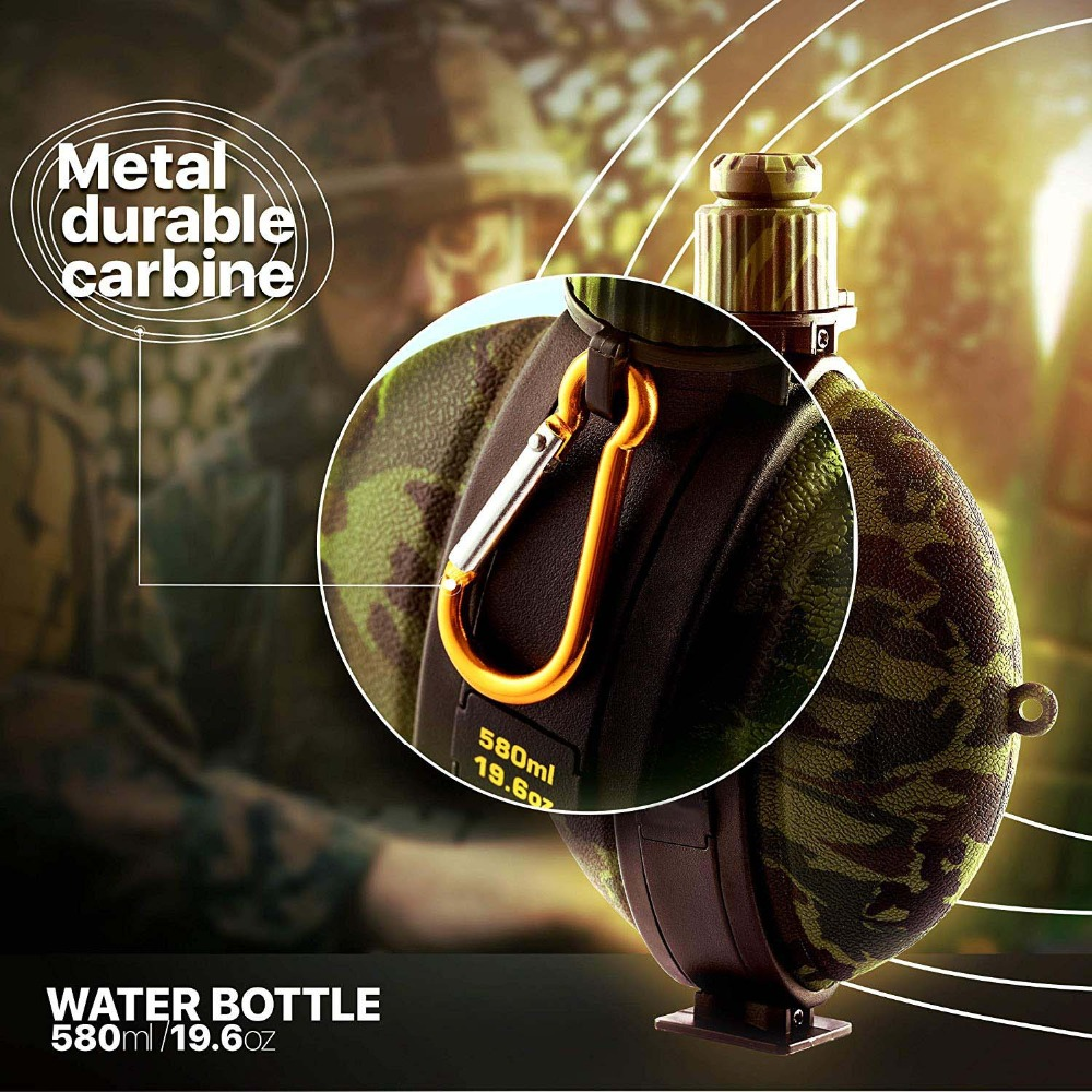 Collapsible Military Water Bottle Hiking Accessories Silicone Water Kettle Canteen with Compass Bottle Cap for Tourism Camping (1)