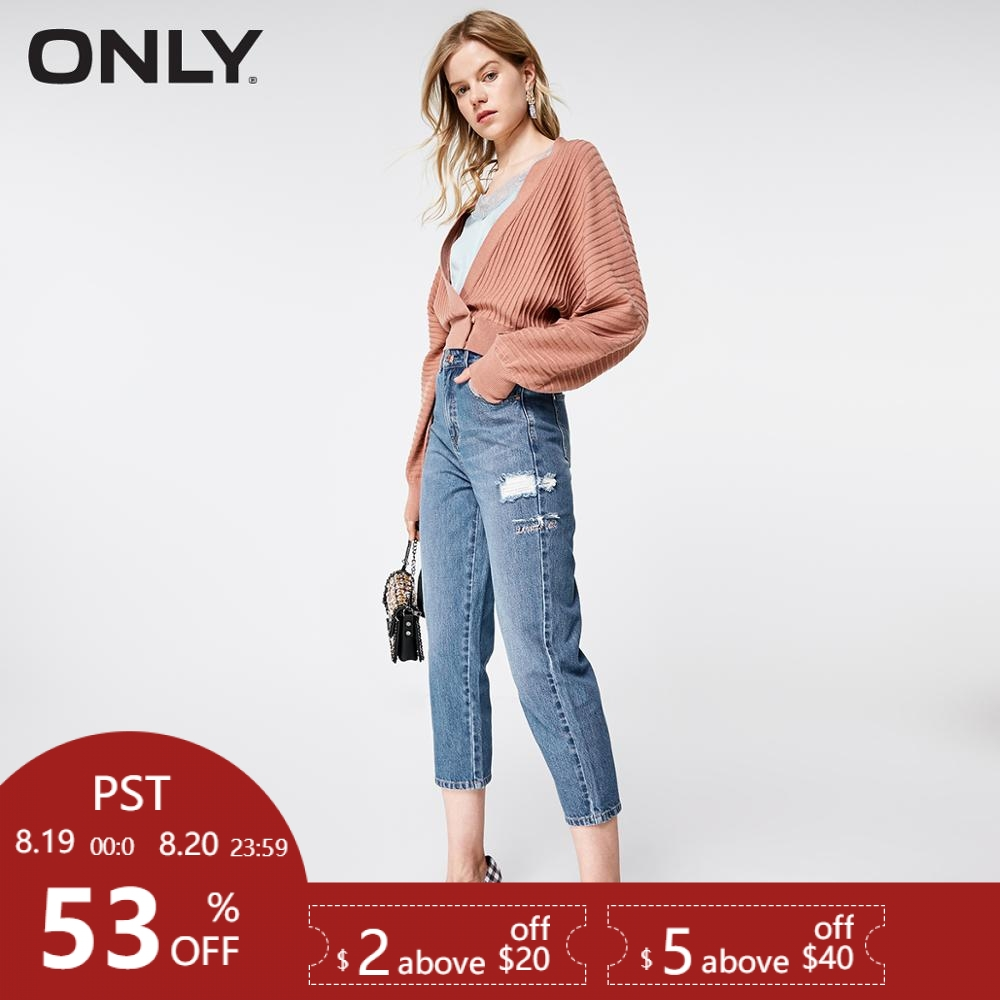 ONLY 2019 Spring Summer New Women's High-rise Loose Fit Ripped Crop   Jeans    119149648