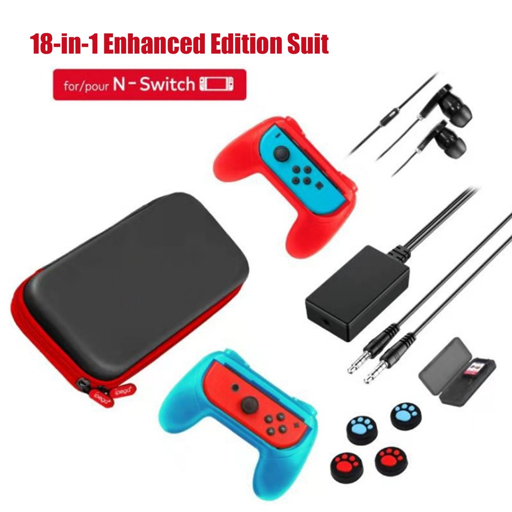 IPEGA PG-9182 18 in 1 Set For N-Switch Carrying Storage Bag Grip Joy-con Earphone Game Card Case For Nintendo Switch Console