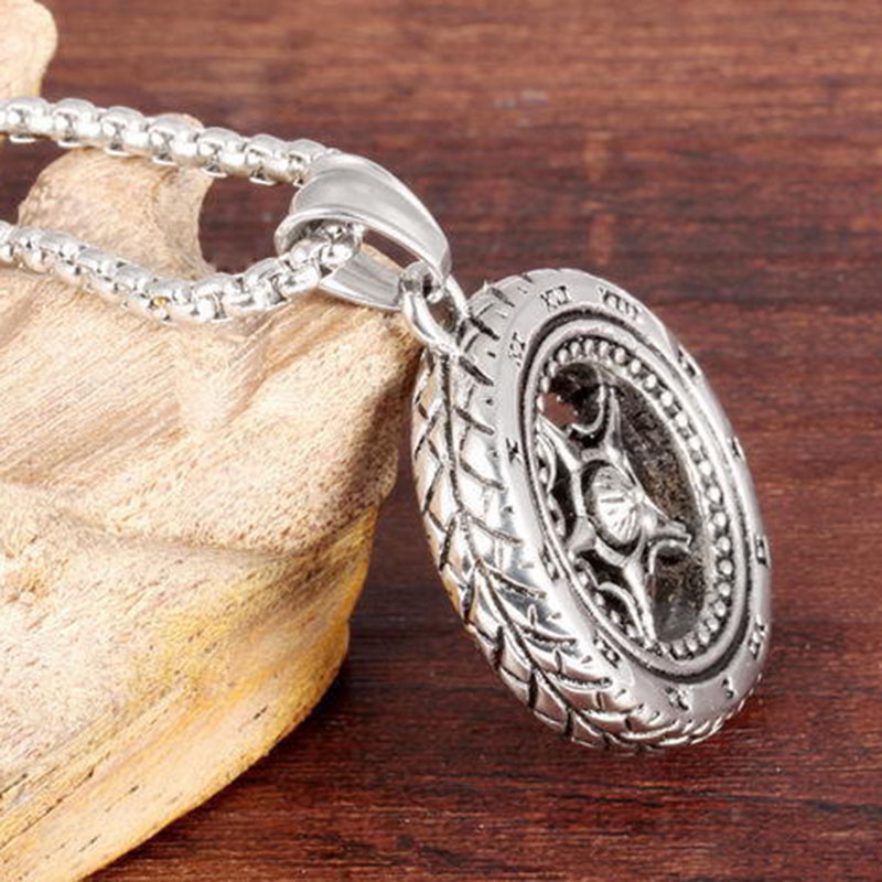 MINCN tires titanium steel necklace tide male pendant long paragraph wild simple couple matching jewelry