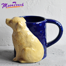 600ml Cute Dog Coffee Mug Ceramic Cup Drinking Milk Mugs Breakfast Oatmeal Teacup Couple Gift caneca