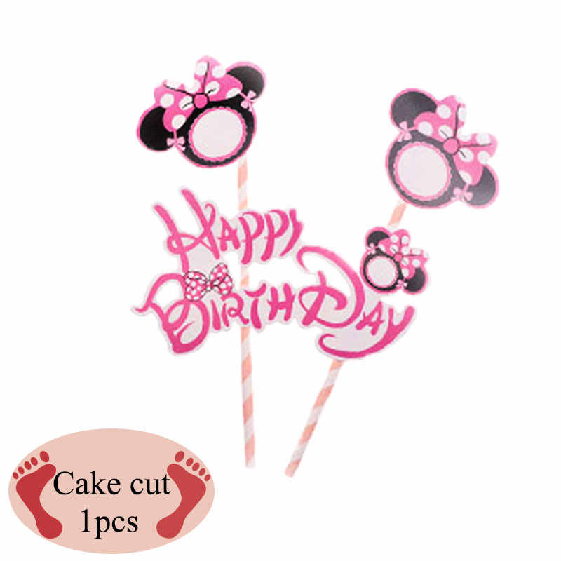 Mickey Minnie theme birthday party supplies disposable tray balloon candle Mickey Minnie party decoration baby bath birthday par