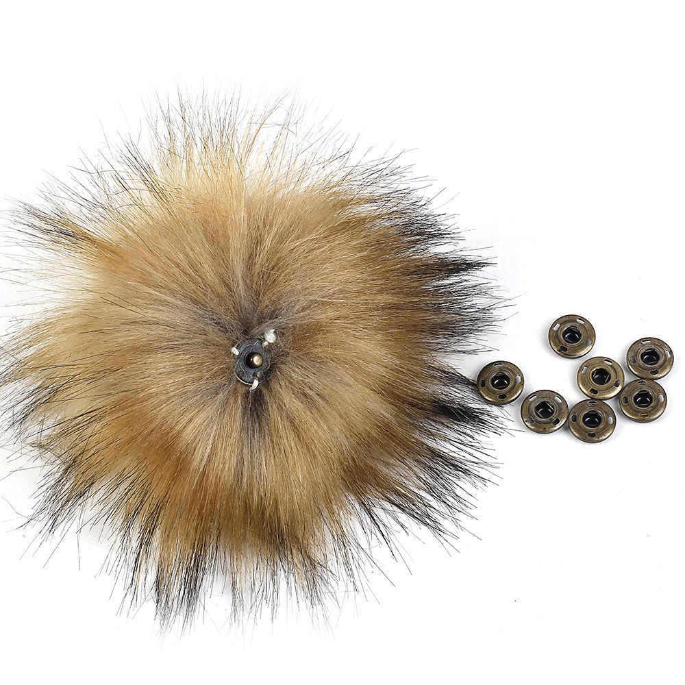 Geebro DIY pompón 11-16cm 18cm 20cm Piel de mapache pompones bolas de piel para punto sombrero gorros y bufanda pompones de pelo auténtico