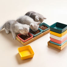 Cat And Puppy Square Ceramic Bowl,Wooden Shelf And Ceramic Dish,Sturdy And Durable,Small Pet Feeder,Multiple Colors,Pet Supplies