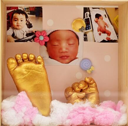 Newborn Baby 3D Handprint Footprint Cast Casting Kit With Photo Frame Keepsake