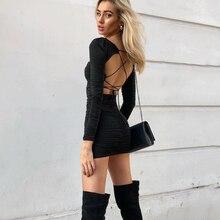 NewAsia คู่ชั้นชุดเซ็กซี่ผู้หญิงแขนยาว Club Backless Lace Up ชุด Ruched สีขาว MINI Bodycon Dress Vestidos