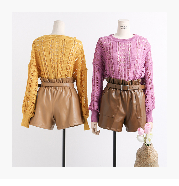 Elastic High Waist Loose PU Leather Shorts Women England Style Sashes Wide Leg Short Ladies Sexy Leather Shorts Autumn Winter 29