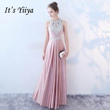 Its Yiiya Sleeveless Evening Dress Pink A-Line Sequined Plus Size Halter Collar Lace Up 2020 K170